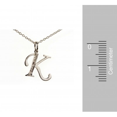 Alphabet K pendant with Diamonds