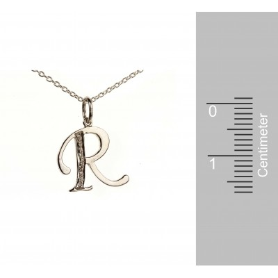 Alphabet R pendant with diamonds