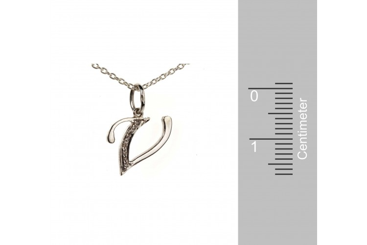Alphabet V pendant with diamonds