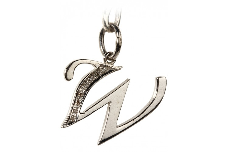 Alphabet W pendant with diamonds