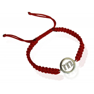 Lower Case Alphabets Bracelet with Diamonds in Silver on Size Adjustable Nylon Thread