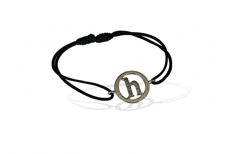 Alphabet h Bracelet with diamonds in 925 silver on size adjustable nylon thread