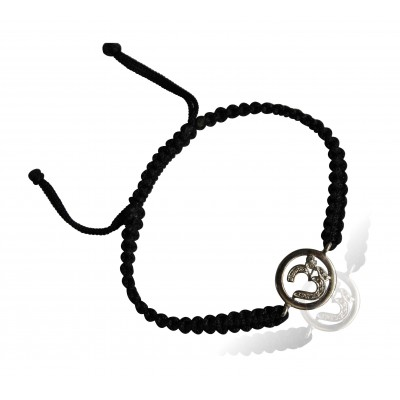 Aum Bracelet in Silver with Diamonds on Nylon Braided Thread from Aumkaara