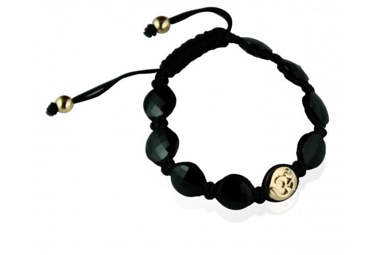 Om Bracelet in Gold with Diamond with 8 Onyx