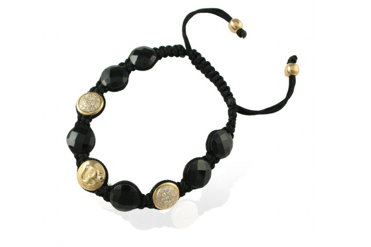 Om Bracelet with Onyx in Gold