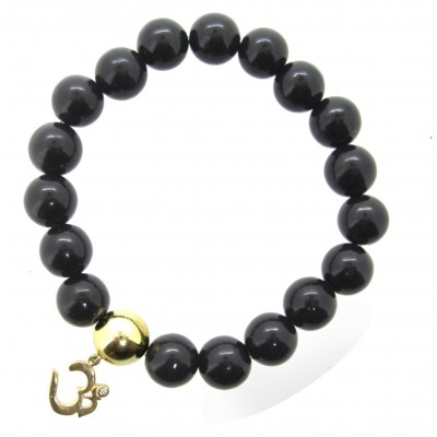 Om Bracelet in 14k Gold with Onyx  with Diamonds