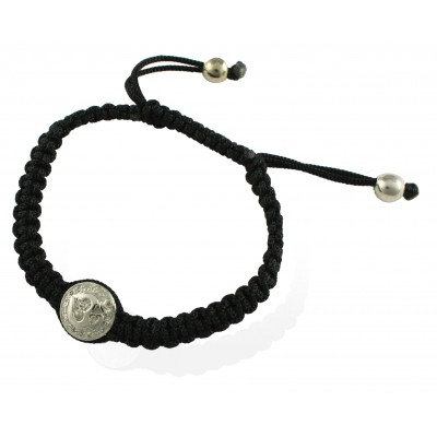 Om Button Bracelet In 925 Silver on Size Adjustable Braided Nylon Thread