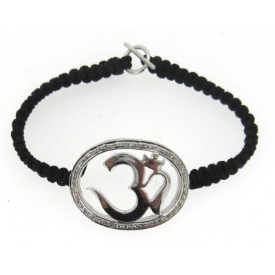 Aum in Silver with Diamonds