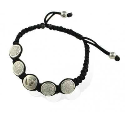 Om Bracelet in Silver with 4 Diamond Studded Discs