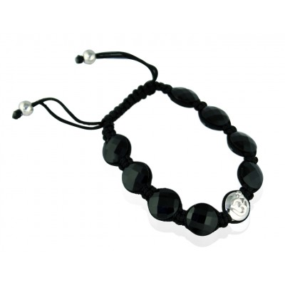Om Bracelets In Silver with Black Onyx on Size Adjustable Nylon Thread